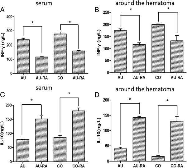 Effect of rapamycin on the levels of interferon (IFN)-γ and interleukin (IL)-10 at an autologous blood-injection model of intracerebral hemorrhage (ICH). (A, B) Similar to the collagenase-injection model, the levels of IFN-γ was downregulated after treatment with rapamycin both in serum and around the hematoma in an autologous blood-injection model. (C, D) Rapamycin upregulated IL-10 both in serum and around the hematoma. AU, Autologous blood-injection model of ICH, CO, Collagenase-injection model of ICH, RA, Rapamycin. * P