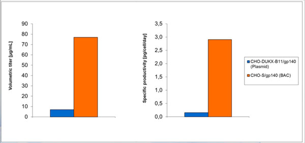 Titer and specific productivity comparison of a BAC derived recombinant CHO-S cell line producing gp140 (CN54) and an already existing recombinant plasmid derived CHO-DUKX-B11 cell line .