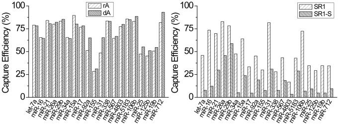 Comparison of capture efficiency across the 20 microRNA panel spiked into 500 ng of total RNA using 4 different adapter designs. The rA and dA adapters have identical sequences based on modified modban design except the 5′ base is either RNA or DNA as indicated. The SR1 and SR1-S adapters are taken from Zhuang et al (39). T4 Rnl2 TK shows no preference for DNA or RNA at the ligation site. However, overall capture efficiency and bias were significantly worse for the SR1 and SR1-S adapters.