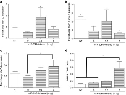Quantitation of wound healing factors following treatments with RNA releasing collagen scaffolds in vivo. ( a ) Fold change of TGF-β 1 expression in excised tissue at day 28, data normalized to healthy unwounded skin. ( b ) Fold change of TIMP-1 expression in excised tissue at day 28, data normalized to healthy unwounded skin. ( c ) Fold change of MMP-8 expression in excised tissue at day 28. ( d ) Ratios of MMP-8 to TIMP-1 expression in excised tissue at day 28, data normalized to healthy unwounded skin. NT indicates an excisional wound with no treatment applied (NT). Data presented is the mean of n = 4 ± SD analyzed by one-way ANOVA and Tukey's post hoc test. * indicates statistical significance between the groups indicated ( P
