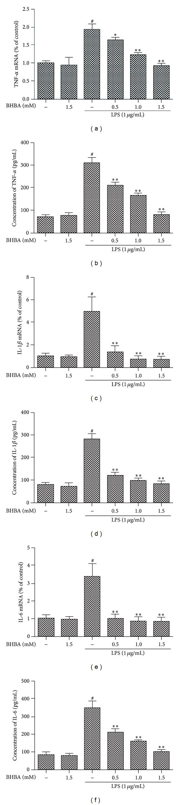 Effects of BHBA on LPS-induced the gene expression and protein secretion of proinflammatory cytokines (TNF- α , IL-1 β , and IL-6) in BV-2 cells. Cells were pretreated with BHBA (0.5, 1.0, and 1.5 mM) 1 h prior to incubation of LPS (1 μ g/mL) for 4 h (mRNA) or 24 h (protein). Proteins and mRNA of TNF- α ((a), (b)), IL-1 β ((c), (d)), and IL-6 ((e), (f)) were determined by ELISA and quantitative real-time PCR as described in Section 2 . The relative mRNA level was normalized to β -actin mRNA. Results are expressed as mean ± SD for each group from three independent experiments. # Significantly different when compared with control alone, P