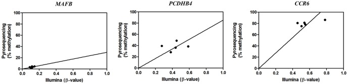 CpG pyrosequencing-based validation of Illumina 450K array results. DNA methylation of blood leukocyte gDNA of 5 volunteers was bisulfite treated and amplified by specific biotinylated primer sets for respectively a highly methylated CpG probe region of the CCR6 gene, a medium methylated CpG probe region of the PCDHB4 gene and a weakly methylated CpG probe region of the MAFB gene. DNA methylation intensities obtained from the different CpG probes by CpG pyrosequencing were plotted against the β-values (0