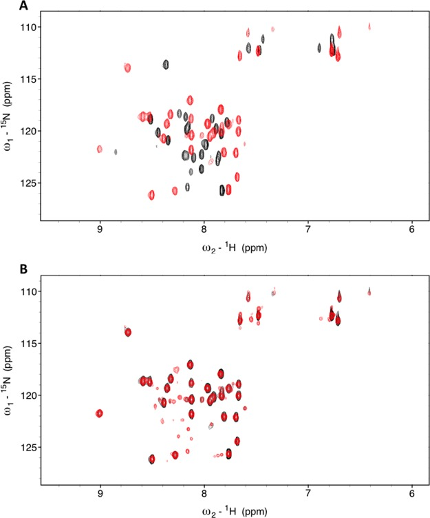 NMR analysis of [ 15 N]SMARCAL1 with RPA32C. (A) 15 N– 1 H SOFAST HMQC spectra of [ 15 N]SMARCAL1 1–32 in the absence (black) and presence (red) of RPA32C. (B) 15 N– 1 H SOFAST HMQC spectra of [ 15 N]SMARCAL1 1–32 in complex with RPA32C obtained before (black) and after (red) a 50 min Proteinase K digestion.