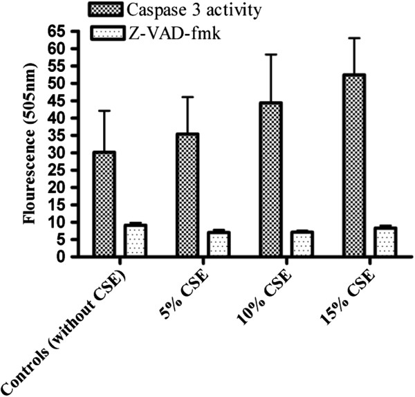 Effect of Z-VAD-fmk and caspase 3 activity in rat PDL fibroblasts exposed to CSE. Caspase 3 activity and effect of Z-VAD-fmk was measured using caspase 3 fluorometric assay in rat PDL fibroblast cells exposed to 5%, 10% or 15% (v/v) CSE for 60 minutes. Each bar represents the mean of ± SEM of three experiments of 16 samples each. No significant differences were noted.