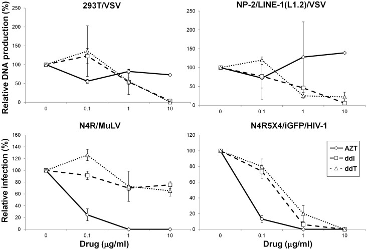 Effects of reverse transcriptase inhibitors on VSV DNA production. The synthesis of VSV DNA in the 293T and NP-2/LINE-1 (L1.2) cells in the presence of AZT, ddI, or ddT was examined via real-time PCR using the VSV N primers. We also tested the effects of these drugs on infection with recombinant MuLV pseudotype virus or HIV-1 strain IIIB. The means ± SE of two independent experiments performed in duplicate are shown.
