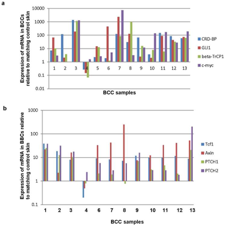 Analysis of the expression of CRD-BP and the activity of Wnt and Hh signaling pathways in BCC a. Relative expression of CRD-BP, GLI1, β-TrCP1, and c-myc in mRNA isolated from 13 superficial BCCs, determined by quantitative RT-PCR. Each value represents the ratio between the expression of each mRNA in BCC and its expression in matching normal skin. b. Relative expression of Tcf1, Axin, PTCH1, and PTCH2 in mRNA isolated from 12 superficial BCCs, determined by quantitative RT-PCR. Each value represents the ratio between the expression of each mRNA in BCC and its expression in matching normal skin.