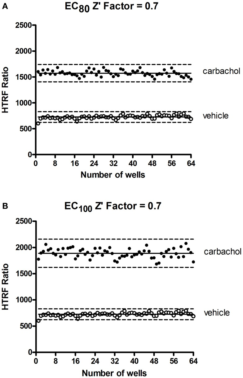 "Z ′-factor measurements for the <t>Phospho-ERK</t> assay . CHO cells stably expressing the muscarinic receptor 1 (M1) were used for the determination of Z ′-factor for the Phospho-ERK1/2 assay using the Phospho-ERK assay one-plate protocol. Cells were stimulated or not with 1.33 μM (EC 80 ) (A) or 4 μM (EC 100 ) (B) of carbachol for 15 min and <t>HTRF</t> signals were measured as described in Section "" Materials and Methods ."" Solid lines show the means of the positive control (carbachol) and negative control (vehicle). Broken lines display three standard deviations from the mean of each data set [Adapted from the CisBio Bioassays website (see text footnote 2) with permission]."