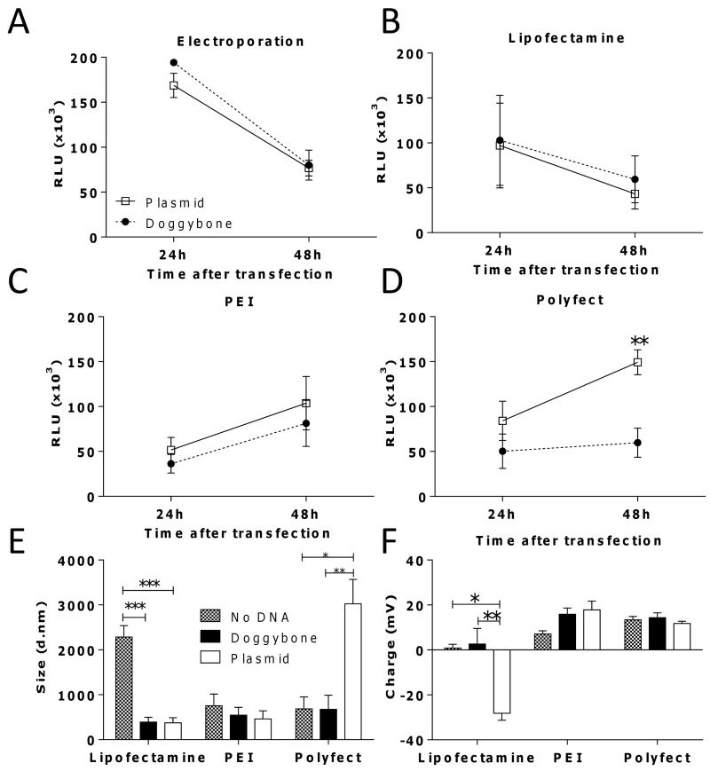 Doggybone and plasmid have similar expression levels in vitro The efficiency of transfection of 1 μg Doggybone (●) or plasmid (□) encoding luciferase in CHO-K1 using electroporation (A), Lipofectamine (B), PEI (C) or Polyfect (D) was tested. Light emission was recorded as relative light units (RLU).The size (E) and the charge (F) of complexes formed by each transfection reagent at pH 7 was characterised by dynamic light scattering. Bars/points represent mean of n=3 replicates +/− SEM * p