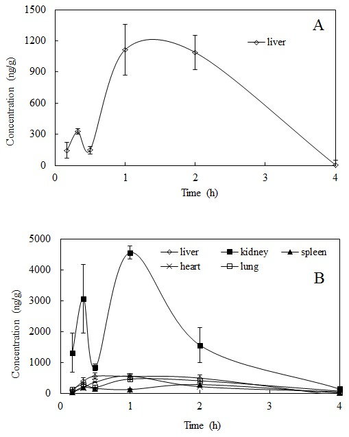 Mean concentration-time profiles of (A) salidroside and (B) p- tyrosol in rat tissues (n = 6) obtained after i.g. administration of salidroside (i.g. 100 mg/kg).
