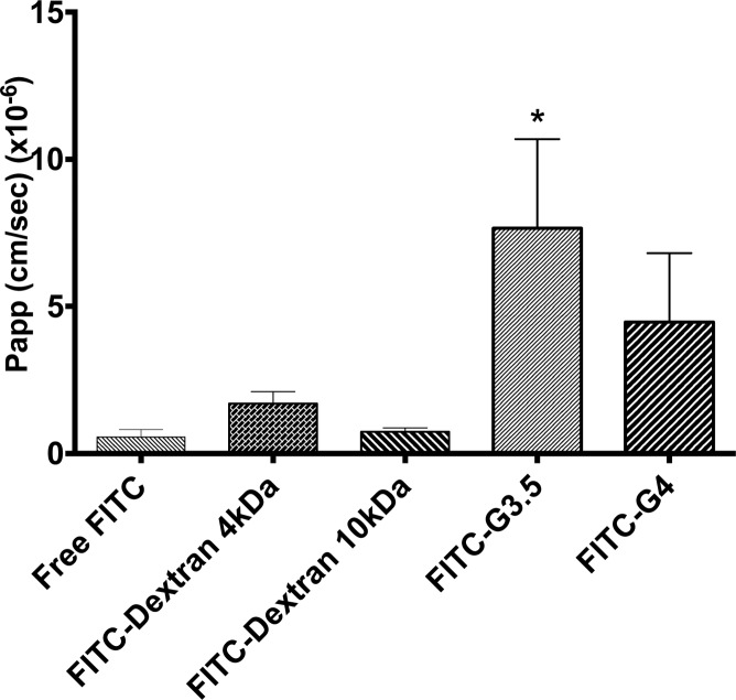 P app of FITC-PAMAM (1.0 mM), FITC-dextran 4 kDa (0.625 mM), FITC-dextran 10 kDa (0.25 mM), and free FITC (0.02 mM) across isolated rat jejunum. FITC-G3.5 dendrimers had significantly increased P app compared to free FITC (* p