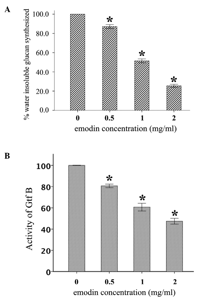 Effect of emodin on the (A) insoluble glucan synthesis and (B) glucosyltransferase (Gtf) B activity of Streptococcus mutans ATCC 25175. The relative amount (%) of insoluble glucan produced by various concentrations of emodin was determined as compared with the control treatment. The percentage of Gtf B activity was calculated considering the control treatment as 100% Gtf activity. The assay was performed three times and data are expressed as mean ± standard error of the mean. * P