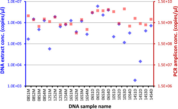 Normalization of PCR amplification by choosing PCR cycle number close to the Ct value. Throat swabs from healthy volunteers were extracted with Qiagen DNeasy (D) or MO BIO PowerSoil (M). DNA extracts were subjected to 16S gene TaqMan qPCR and subsequent PCR using a cycle number of 20, 25, or 30 based on individual sample's qPCR Ct value. PCR amplicons were quantified by PicoGreen dsDNA assay. DNA concentrations for DNA extracts ( blue markers and axis ) and PCR amplicons ( red markers and axis ) are shown in 16S gene copies/μl in the same scale. DNA sample name, 08S1M as an example, depicts the subject number (08), swab number (S1), and extraction method (M).