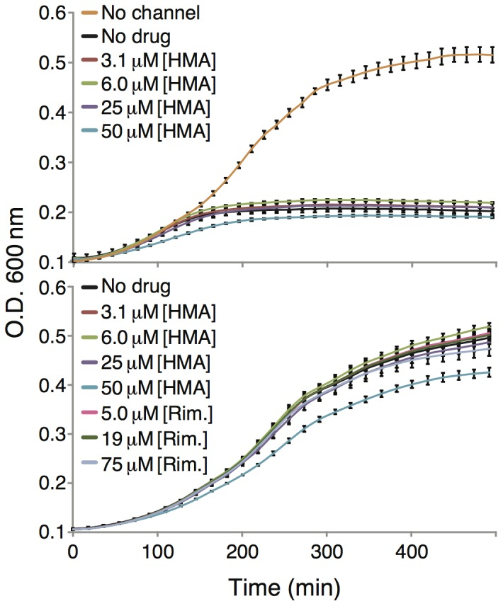 Top. Growth curves of DH10B bacteria expressing MBP-Vpu chimera as a function of different HMA concentrations. The bottom panel depicts a toxicity analysis of HMA and rimantadine (Rim.) on bacteria that express MBP without a channel attached to it.