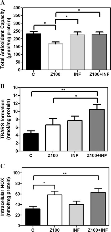 Infliximab partially prevents Zaprinast-induced oxidative stress in cultures of porcine retina. Retinal explants were incubated with dimethyl sulfoxide (DMSO), Zaprinast and Infliximab alone or combined with Zaprinast as described in Methods. Effect of Infliximab on the total antioxidant capacity (A) , TBARS formation (B) and intracellular NOX (C) . Each sample was measured in duplicate, and the values are the mean ±SEM of eight cultures. ANOVA Newman-Keuls post-test was used for TAC analysis. Kruskal-Wallis test and Dunn's post-test was used for TBARS and iNOX analysis. * P