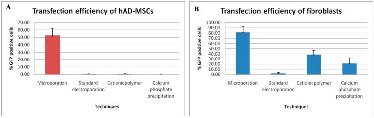 Transfection efficiencies of hAD-MSCs and fibroblasts using four independent techniques. The microporation technique had the highest transfection efficiency as compared to standard electroporation and chemical-based transfection reagents for transfection of ( A ) hAD-MSCs and ( B ) fibroblasts. hAD-MSCs and fibroblasts were transfected with a plasmid encoding for Angiopoietin-1 (ANGPT-1) and the enhanced green fluorescent protein (eGFP) expression cassette using different chemical-based reagents and electroporation protocols after optimization.