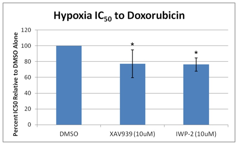 Further Wnt/β-catenin signaling inhibition sensitizes hypoxic OS cells to doxorubicin. MG-63 OS cells were treated with increasing concentrations of doxorubicin under hypoxic conditions in the presence of the tankyrase inhibitor XAV939, the porcupine inhibitor IWP-2, or DMSO alone. Half maximal inhibitory concentrations (IC 50 ) were calculated, and the percent IC 50 relative to DMSO alone was determined. Asterisks indicate statistical significance (*p