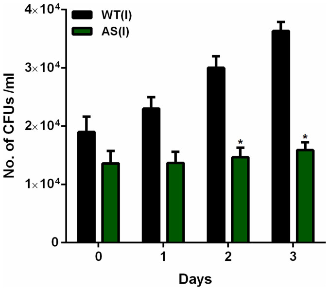 Effect of reduced expression of Rv1211 on growth of M. tb ex vivo . MDMs were infected with both M. tb H37Rv and M. tb-Rv1211AS separately. Intracellular growth and survival was monitored by enumerating CFUs as given in the materials and methods. Graph depicts intracellular growth kinetics of M. tb H37Rv and M. tb-Rv1211AS over a period of 3 days post infection. Data was considered significant (*) if p