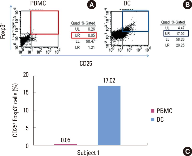 Stimulation of peptide-specific regulatory T cells (Tregs) by peripheral blood mononuclear cells (PBMCs) and dendritic cells (DCs). (A) Peptide number 19 from Streptococcus sanguinis heat shock protein 60 has shown a minimal capability (0.05%) to convert T cells into Tregs when PBMCs are used as antigen-presenting cells. (B) DCs were used for presenting peptide antigens, which enhanced induction of Tregs (17.02%). (C) The bar graph shows the percentage of peptide-specific Tregs among T cells in one subject. UL: upper left panel, UR: upper right panel, LL: lower left panel, LR: lower right panel.