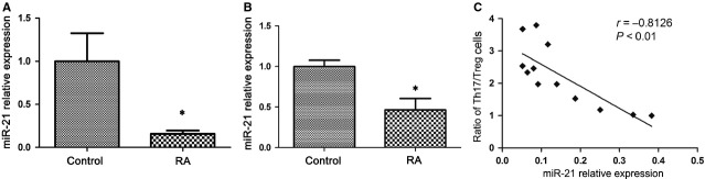 MiR-21 is decreased in peripheral blood mononuclear cells (PBMCs) and CD4 + T cells from rheumatoid arthritis (RA) patients. ( A ) PBMCs (3 × 10 6 ) were isolated from RA patients ( n = 25) and healthy control ( n = 20), and miR-21 was quantified by real-time PCR. ( B ) Expression of miR-21 in sorted CD4 + T cells from RA patients ( n = 5) and healthy control ( n = 5) by real-time PCR. The expression of miR-21 in patients with RA is shown as relative levels compared with healthy controls. Data are expressed as the mean ± SEM. * P