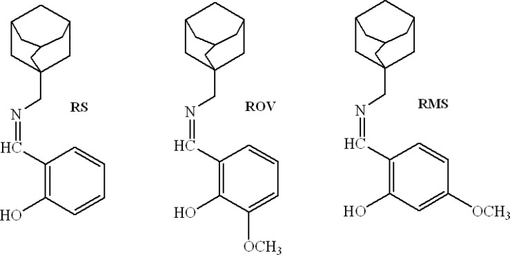 Molecular structures of <t>rimantadine-salicylaldehyde</t> (RS), rimantadine-o-vanillin (ROV) and rimantadine-4-methoxy- salicylaldehyde (RMS) <t>Schiff</t> bases