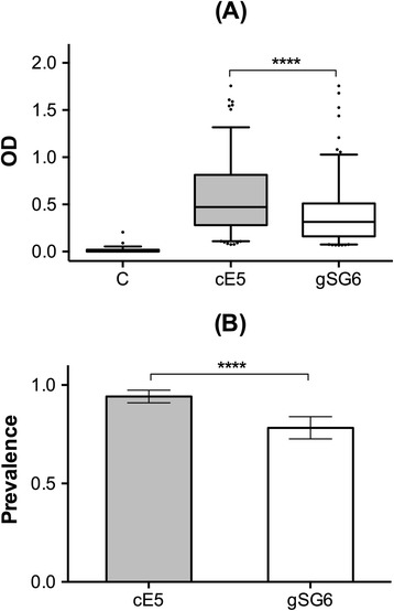 IgG antibody response to the An. gambiae cE5 and gSG6 proteins. Comparison of the anti-cE5 and anti-gSG6 IgG responses among exposed individuals during the malaria transmission season (survey Aug 1994, n = 207, average age ±95% CI = 22.7 ± 16.9). (A) Box plots of OD values among responders to both cE5 and gSG6 antigens (n = 156). Boxes display median values, 25th and 75th percentiles. Whiskers represent 5–95 percentiles and dots the outliers. The IgG response to the cE5 protein in non-exposed individuals (n = 59, average age ±95% CI = 26.3 ± 16.1) is shown as control (C). IgG levels are expressed as OD 492 . P value determined by the Wilcoxon matched-pairs signed rank test (****, p