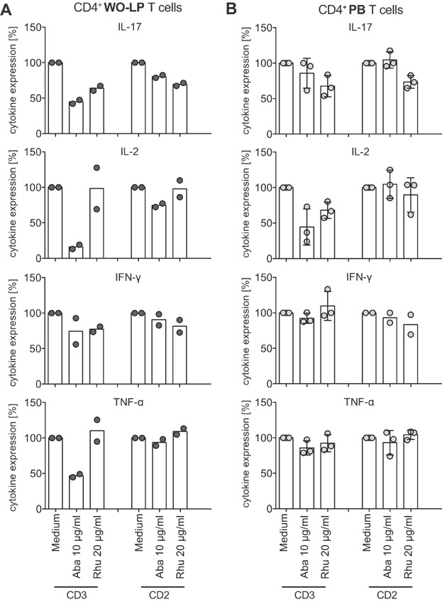 RhuDex® impairs cytokine release of CD4 + T cells. WO-LPL and PBL were stimulated with anti-CD3 or anti-CD2 for 6 h and Brefeldin A was added for the last 4 h. The fraction of T cells expressing intracellular cytokines (IL-17, IL-2, IFN-γ, and TNF-α) as gated on CD3 + CD4 + T cells were determined. Shown is the normalized intracellular cytokine expression of (A) CD4 + WO-LP T cells (2 tissue donors) and (B) CD4 + PB T cells (2 allogeneic donors) in the absence of inhibitors (medium set to 100%) and in the presence of inhibitors (Aba, Abatacept, Rhu, RhuDex®). Data points for each donor are shown in grey circles, and the mean of all data points in each condition is shown as columns.