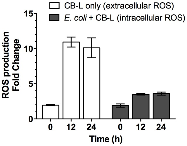 CB-L-associated ROS production in the absence and presence of  E. coli  ATCC 25922. ROS was measured in CB-L without the presence of cells (extracellular; using a plate reader) and exclusively in the intracellular environment of exponential-phase  E. coli  following CB-L exposure (intracellular; using flow cytometry). Cells were grown overnight, transferred to fresh growth media and grown to mid-logarithmic phase, washed, and exposed to CB-L for 24 h. Reported values represent the ROS production fold change of CB-L compared to water and CB-L-exposed cells compared to water-exposed cells. Data are presented as the mean ± standard error of the mean (SEM) for three independent experiments.