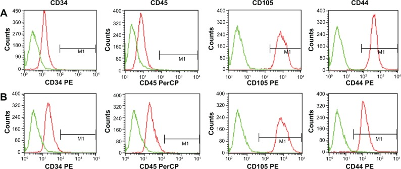 Characterization of MSCs-NK4 ( A ) and MSCs-GFP ( B ) phenotypes. Notes: After transduction of lentiviral vectors (Lenti-NK4 or Lenti-GFP), MSCs-NK4 and MSCs-GFP remained negative for CD45 and CD34 but positive for CD44 and CD105. Abbreviations: MSCs, mesenchymal stem cells; GFP, green fluorescent protein; PE, phycoerythrin; PerCP, peridinin chlorophyll protein.