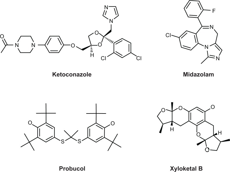 Chemical structures of Xyloketal B, midazolam, <t>ketoconazole,</t> and probucol.