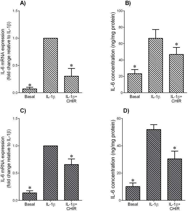 Effect of GSK3 inhibitor CHIR99021 on IL-1β-induced pro-inflammatory cytokine IL-6 in adipose tissue and skeletal muscle. Human ( A,B ) omental adipose tissue and ( C,D ) skeletal muscle were incubated with 1 ng/ml IL-1β in the absence or presence of 10 µM CHIR99021 (CHIR) for 20 h (n = 6 patients). ( A,C ) Gene expression for IL-6 was analysed by qRT-PCR. Gene expression was normalised to GAPDH mRNA expression and the fold change was calculated relative to IL-1β. Data displayed as mean ±SEM. * P
