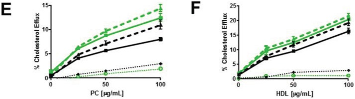 Myriocin reduces PM SM content and increases non-SM-associated cellular cholesterol pools and cholesterol efflux. ( A ) Myriocin reduces PM SM content. Control and ABCG1 cells pre-treated without myriocin ((−) MYR), or, with myriocin ((+) MYR) were immunostained with lysenin. ( B ) Myriocin increases cellular FC. Control and ABCG1 cells treated without ((−) MYR), or, with ((+) MYR) were stained with filipin. ( C ) Myriocin enhances CD-mediated PM FC efflux. Control ( black line ) and ABCG1 ( green line ) cells labeled with 3 H-FC were pre-treated without or with myr ( solid and dashed lines , respectively), and the percent of total cellular FC efflux CD (1 h at 4 °C) was determined. ( D ) Myriocin enhances CD-mediated cellular FC efflux. Control ( black ) and ABCG1 ( green ) cells labeled with 3 H-FC were pre-treated without or with myr ( solid and dashed lines , respectively), and the percent of total cellular FC efflux to CD (10 min at 37 °C) was determined. Myriocin enhances FC efflux to PC liposomes ( E ) and to HDL ( F ). ( E , F) : Black line , dashed black line : untreated, and myr-treated control cells, respectively; green line , dashed green line : untreated, and myr-treated ABCG1 cells, respectively. Dotted black and green lines represent difference curves for control and ABCG1 cells with myriocin treatment, respectively. All values are expressed as mean ± S.D. Data shown is representative of at least three replicate experiments. Two-way ANOVA analyses using multiple comparisons revealed that in ( C ), all values are significantly different ( p