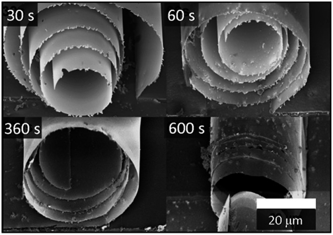 SEM images of TiO 2 <t>microtubes</t> obtained with different etching times in HF (30–600 s). The TiO 2 membranes were deposited at 300 °C.