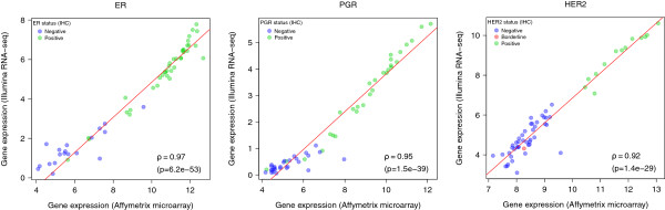 Expression correlation for ER, PgR, and HER2 genes. Scatterplots reporting the expression correlation of ER, PgR, and HER2 defined by Affymetrix microarray or Illumina RNA-Seq. Each dot is colored according to the corresponding status determined by IHC: green for positive, blue for negative, red for borderline. Spearman correlation coefficient and p-value are provided below the plots.