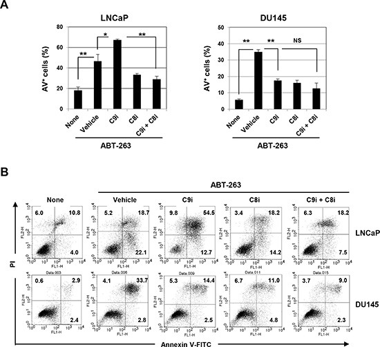 Induction of caspase-8-dependent ABT-263-induced apoptosis of LNCaP cells by inhibition of caspase-9 (A) LNCaP and DU145 cells were treated with ABT-263 (2.5 μM for LNCaP and 10 μM for DU145) in the presence of either or both the caspase-9 and caspase-8 inhibitors (20 μM). After 24 h, cells were stained with FITC-conjugated Annexin V and PI, and flow cytometry was performed. The results are shown as the means + SD of three samples. * P