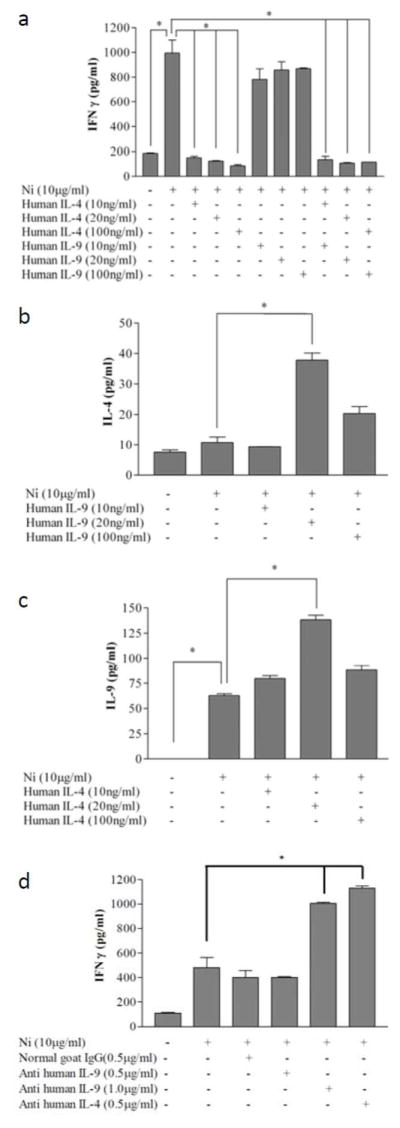 IL-4 but not IL-9 directly regulates IFN-γ during allergen-specific Th1 activation in vitro (A) PBMC from a nickel allergic patient were cultured in medium alone or in medium containing nickel-chloride, the indicated doses of IL-9 alone, IL-4 alone, or IL-9 and IL-4 together were added to the nickel-chloride stimulated PBMC. Supernatants were collected 96 h after nickel-stimulation. (B) IL-4 secretion was also measured after addition of IL-9. (C) IL-9 was measured in those culture conditions which had added IL-4. (D) Specific blocking anti-sera were added to the nickel culture, and IFN-γ was assayed using multiplex ELISA. Data depicted represent mean +/− SD of samples assayed in triplicate. This experiment was repeated with PBMC three times, and found to be reproducible. The data in ( A–D ) represent PBMC from distinct nickel-allergic patients.