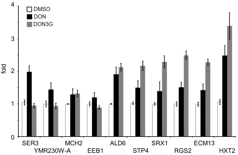 Semi-quantitative analysis of DNA microarray data. Total RNA that was used in the DNA microarray analysis and DON-treated RNA samples were prepared for synthesizing cDNA templates. Bars = SE; n = 3.