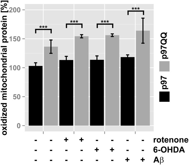 Clearance of oxidatively-damaged mitochondrial proteins is impaired following inactivation of p97 . SH-SY5Y cells stably expressing p97 or dominant-negative p97QQ under control of the Tet-On promoter were induced with tetracycline for 2 h or left uninduced and treated with 5 μM rotenone, 75 μM 6 OHDA, or 50 μM Aβ for an additional 6 h. Mitochondria were isolated using anti-TOMM22 magnetic beads resulting in highly purified mitochondria. Protein carbonylation as measure for oxidative damage was determined by infrared laser-based quantitative western blotting following derivatization with 2,4-Dinitrophenylhydrazine (DNPH) and detection using anti-DNP antibodies. Shown is the average of three independent experiments. Please see Supplementary Figure S1 for representative western blot images. Statistical analysis was performed using pair-wise t -tests with p -value adjustment according to Holm. Comparisons shown are tetracycline-induced, untreated cells vs. tetracycline-induced, treated cells. Statistical significance is marked with n.s. for not significant, *** p