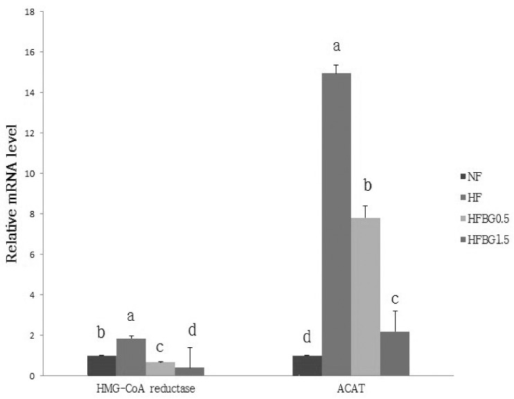 Effect of black garlic extracts on mRNA expression of protein related to cholesterol synthesis in liver of rats. Total RNA was isolated using TRI-reagenet and cDNA was synthesized using 3 µg of total RNA with SuperScript II reverse transcriptase. Realtime PCR was performed using SYBR green and standard procedures to assess the mRNA expression of primer in liver samples obtained from each group. An Applied Biosystem StepOne softwere v2.1 was used. Each bar represents the mean ± SE of three independent experiments. Different letters above each bar indicate significant differences among groups at α = 0.05 as determined by Duncan's multiple range tests. ACAT; Acyl-CoA cholesterol acyltransferase, HMG-CoA; Hydroxy-3-methylglutaryl coenzyme A