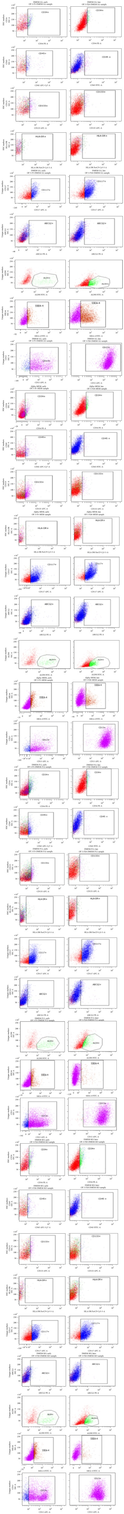 Flowcytometric characterization of HSC and unique markers of omentum fat derived MSC. Characterization of omentum fat derived MSC at early (P3) and late (P20) passages in DMEM-LG, Alpha-MEM, DMEM-F12, and DMEM-KO for CD34, CD45, CD133, HLA-DR, CD117, ABCG2, ALDH, SSEA4, and CD13 using flowcytometry.