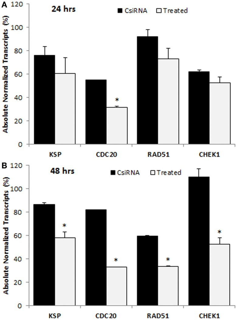 Digital droplet PCR (ddPCR) analysis in MDA-MB-435WT cells after 24 h (A) and 48 h (B) of treatment with indicated siRNAs . The percentage of quantity of transcripts was calculated based on the transcripts level of untreated cells (100%). The significance (*) at p