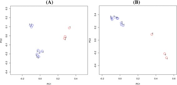 Principal coordinates analysis of saliva and seven-day biofilms. Plots are based on community membership using the Jaccard index (A) and community structure using the thetaYC calculator (B) . Blue - biofilms; red - saliva. Labels indicate the panel number. A: PC1 = 8.6% of variance, PC2 = 5.2% of variance. B: PC1 = 33.1% of variance, PC2 = 19.3% of variance.