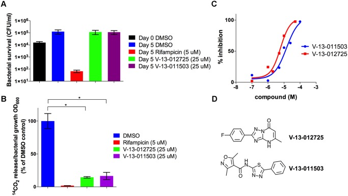 V-13–012725 and V-13–011503 inhibit cholesterol breakdown. (A) Growth of wild type Mtb is not inhibited in <t>7H9</t> <t>OADC</t> containing cholesterol (100 μM) and experimental compounds. (B) In 7H9 OADC containing cholesterol (100 μM) V-13–012725 and V-13–011503 specifically inhibit cholesterol turnover. (C) V-13–012725 and V-13–011503 directly inhibit the activity of the recombinant HsaAB enzyme complex with IC 50 values of 5.0 ± 0.8 and 11.0 ± 2.0 μM, respectively. (D) Chemical structures of V-13–012725, 2-(4-fluorophenyl)-5-methyl-1H-[1, 2, 4]triazolo[1, 5-a]pyrimidin-7-one and V-13–011503, 3,5-dimethyl-N-(5-phenyl-1,3,4-thiadiazol-2-yl)-1,2-oxazole-4-carboxamide. Data are representative of at least two independent experiments and error bars represent s.d.