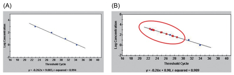 Sensitivity and specificity of the TaqMan real-time PCR with primer, Pc-12-ne-F/Pc-12-ne-R and TaqMan probe, Pc-taqman. (A) The linear regression generated by ten-fold dilution of DNA of Pseudomonas coronafaciens LMG 5060 and (B) TaqMan PCR with DNAs (circle dot) of P. coronafaciens LMG 5060, and P. coronafaciens strains (square dot): P. coronafaciens KACC 13262, KACC 12133, LMG 2170, LMG 5030, LMG 5061, LMG 5081, LMG 5380, LMG 5449, LMG 5452, LMG 5536, LMG 13190, and LMG 2330.