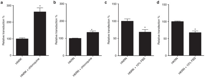 Effects of chloroquine and fetal bovine serum (FBS) on transfection efficiency of protein nanovectors. HEK293T cells were incubated for 4 hours with the modular protein nanovectors HNRK ( a, c ) or HKRN ( b, d ) in the absence or presence of the endosome disrupting agent chloroquine ( a, b ), or in absence or presence of 10% FBS ( c, d ). One day later, transfection efficiencies were quantified by flow cytometry. * P