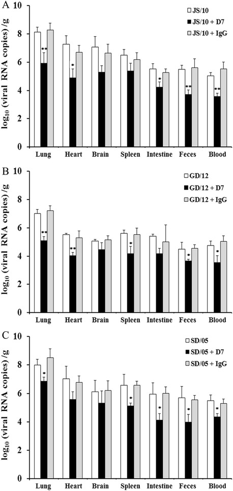 Viral loads in collected tissues and fecal samples of mice at 6 dpi. Mice were pretreated with 20 mg/kg of mAb D7, mAb IgG or PBS 1 day before viral challenge with virus JS/10 (A) , GD/12 (B) or SD/05 (C) , respectively. In each virus group, the lung, heart, brain, spleen, intestine, feces and blood of mice were collected for determination of viral loads using real-time PCR at 6 days post-challenge. * P