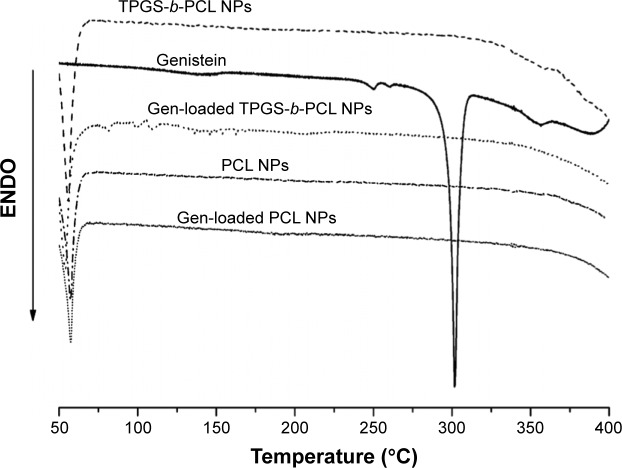 DSC thermograms of the pure genistein, blank PCL NPs, blank TPGS- b -PCL NPs, and genistein-loaded PCL NPs, and TPGS- b -PCL NPs. Abbreviations: DSC, differential scanning calorimetry; ENDO, endotherm; NPs, nanoparticles; PCL, poly(ε-caprolactone); TPGS, d -α-tocopheryl polyethylene glycol 1000 succinate.
