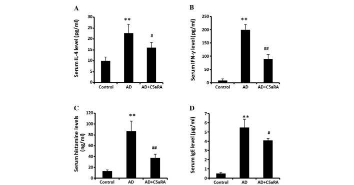 C5aRA reduces the levels of IL-4, <t>IFN-γ,</t> histamine and IgE in mouse serum. Following DNCB application onto the dorsal skin of BALB/c mice for 2 weeks with or without C5aRA (1 μ g) intracutaneous injection, blood was sampled from the posterior vena cava of mice. Levels of IL-4, IFN-γ, histamine and IgE in serum were determined using ELISA kits. Levels of (A) IL-4, (B) IFN-γ, (C) histamine and (D) IgE were significantly increased. The increases in levels of IL-4, IFN-γ, histamine and IgE in serum were significantly attenuated in the mice receiving C5aRA intracutaneous injection. Values are expressed as the mean ± standard deviation (n=5). ** P