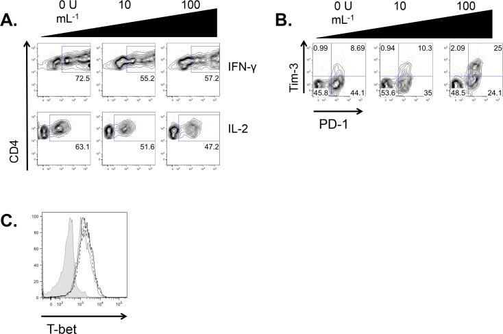 IFN-β suppresses cytokine secretion from Th1 cells. A. CD4 + CD62L hi T cells were sorted from the spleens and lymph nodes of C57BL6/J mice and were stimulated with plate-bound anti-CD3+anti-CD28 under Th1 conditions, with the indicated concentrations of IFN-β, for 5 days. Cells were restimulated for 48 hours under Th1 conditions with the same concentration of IFN-β as at the initial stimulation. A. Generation of IFN-γ and IL-2 was assessed by intracellular cytokine staining and flow cytometry. Representative of three experiments. B. Expression of Tim-3 and PD-1 were assessed by flow cytometry. Representative of three experiments. C. Expression of T-bet was assessed by flow cytometry. Representative data from one of three mice assessed individually. Solid line with open histogram, Th1; dashed line with open histogram, Th1 + 10 U mL -1 IFN-β; dotted line with open histogram, Th1 + 100 U mL -1 IFN-β; shaded histogram, FMO control. Data in all panels gated on CD4 + cells.