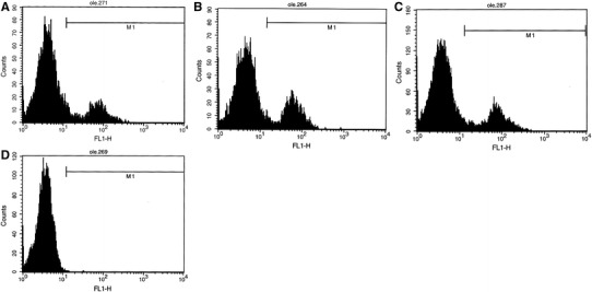Representative histograms of GLUT1 from flow cytometry analysis of females samples incubated in different leptin concentration. The first antibody used was polyclonal rabbit antibody against GLUT1. The secondary antibody was swine anti-rabbit IgG-FITC. a control without leptin; b normal leptin concentration; c elevated leptin concentration; d control sample (negative) without antibody against GLUT1