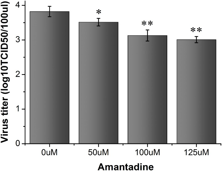The effect of amantadine on the release of FMDV virions. BHK-21 cell cultures were infected with FMDV (MOI/0.1) and then treated with amantadine. The virus in the supernatant was collected at 4 hours post-infection. The virus titer was determined by TCID50. Asterisks indicate significant differences between the indicated samples (*P
